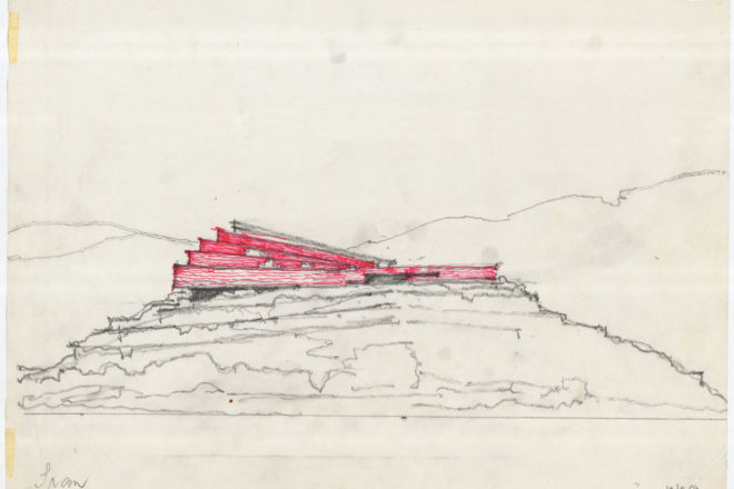 Sketch of a red house on a hill.