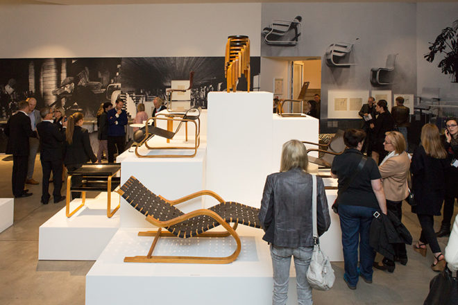 Chairs designed by Alvar Aalto on show.