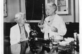 In 1950, microbiologist Elizabeth Lee Hazen (1888-1975) and chemist Rachel Brown (1898-1980), Division of Laboratories and Research, New York State Department of Health, Albany, developed an effective antifungal agent (nystatin) for yeast infections. This photograph was distributed in 1955 when Hazen and Brown were given the first Squibb Award for achievements in chemotherapy.