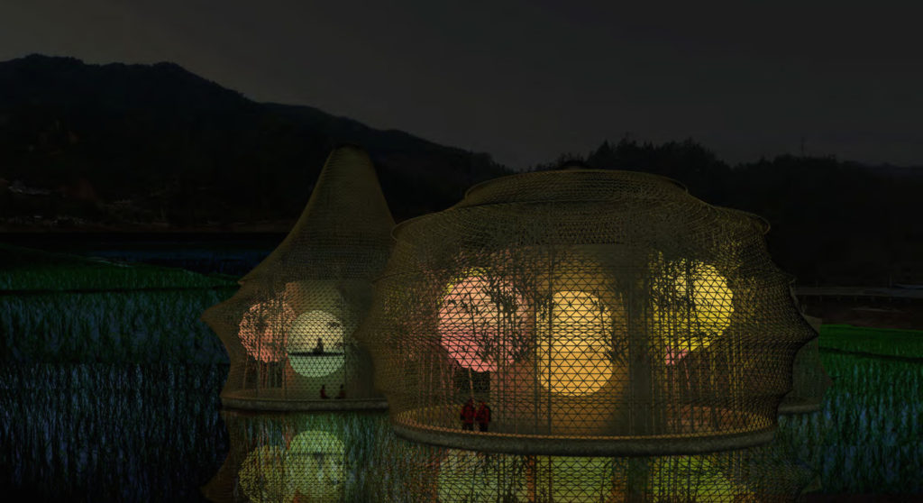 Hostels for Bamboo Biennale in Baoxi, Longquan (China), 2013–14. © Heringer, Schelling Architekturstiftung.