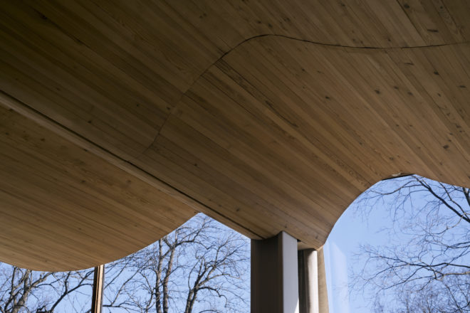 A wave shaped wooden roof.