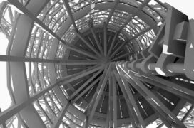 Black and white image of a spiral staircase.