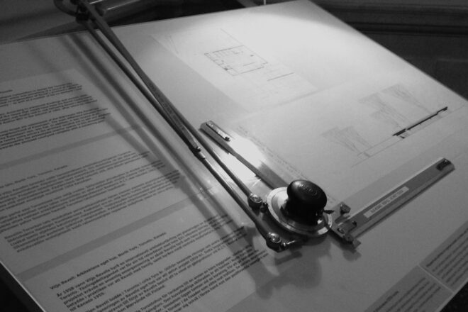 Black and white picture of a drawing table for architects.