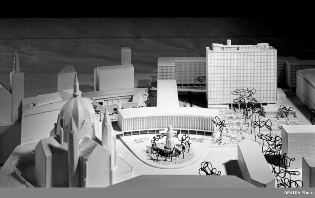 Detail of the architectural model by architect Erling Viksjø (1910–1971). Photo by Teigens Fotoatelier. DEX_T_4420_017 / Norsk Teknisk Museum / DEXTRA Photo. Image source: digitaltmuseum.no (CC 3.0 BY-NC-SA).