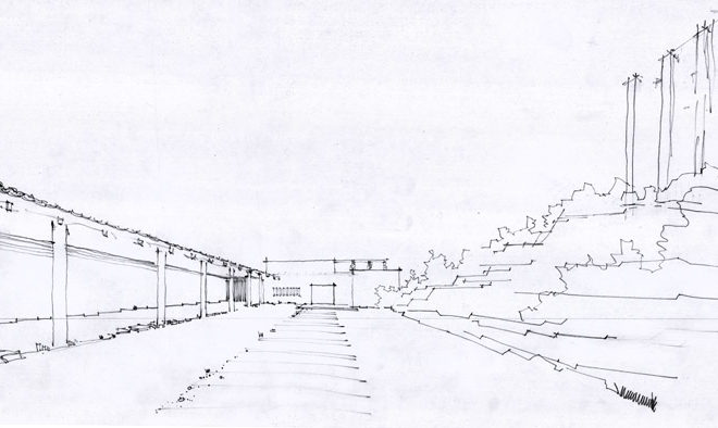 Malmi funeral chapel, Alvar Aalto 1950. Main chapel courtyard is bounded by the hillock and colonnade for urn burials. Sketch. Alvar Aalto Museum / Collection.