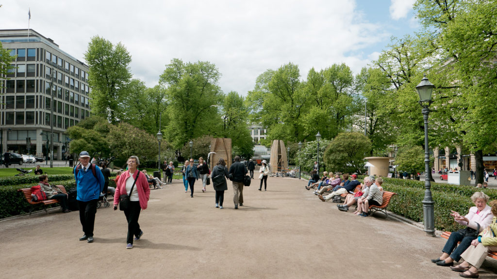 The Re-Creation installation is located at the Mikonkatu side of the Esplanade Park.
