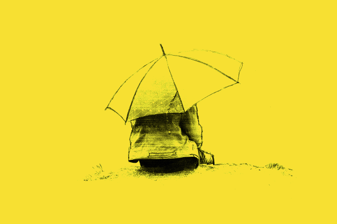 A yellow image with a black drawing of a boy hiding under an umbrella