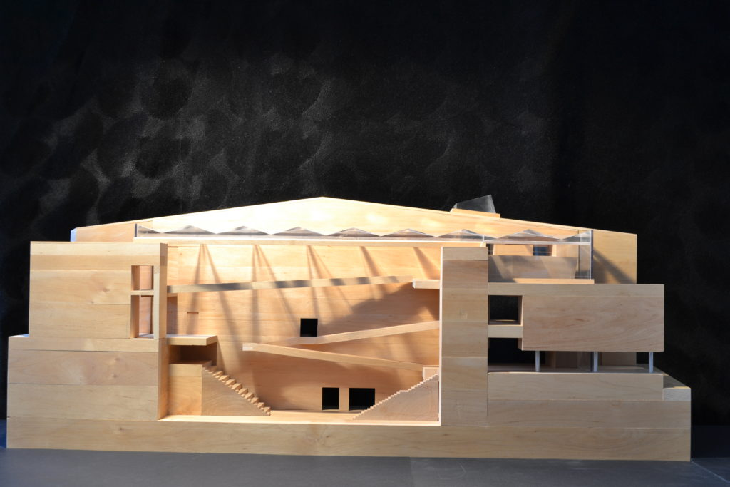 Image of the scale model for the Tampere Music Academy. Kouvo & Partanen Architects.