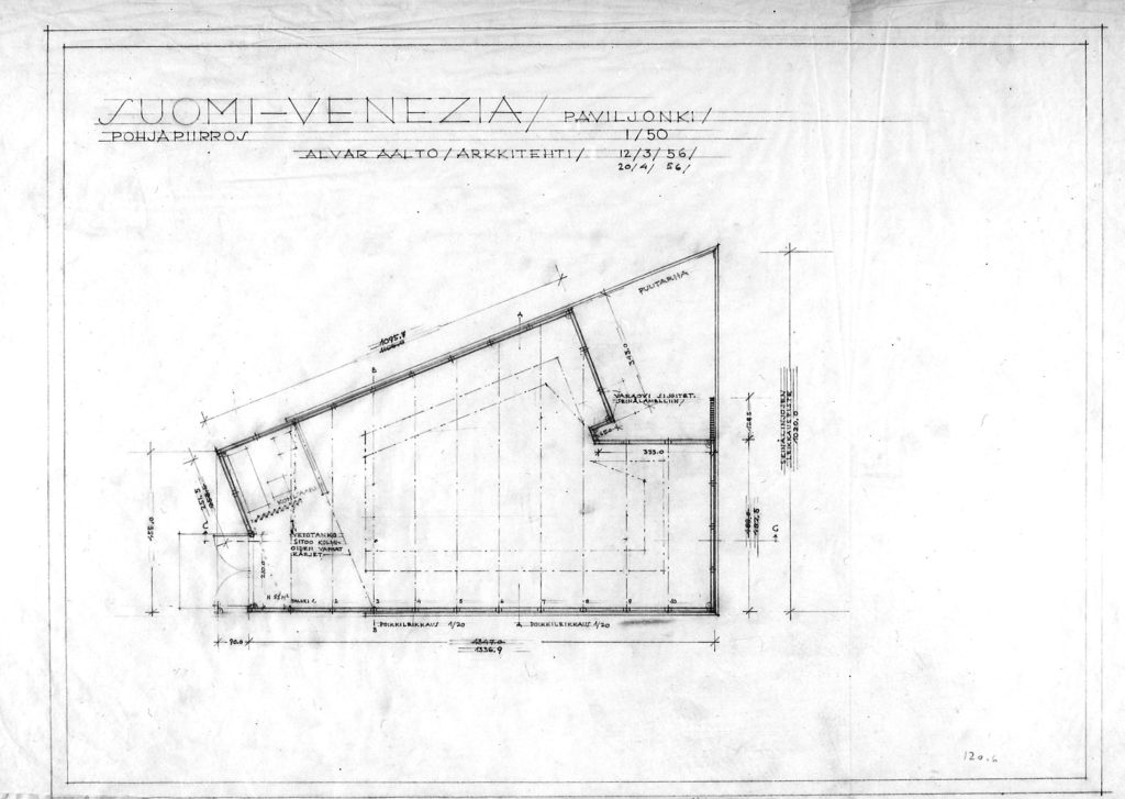 Plan of the pavilion. Drawing dated 12 March and 20 April, 1956. © Alvar Aalto Foundation