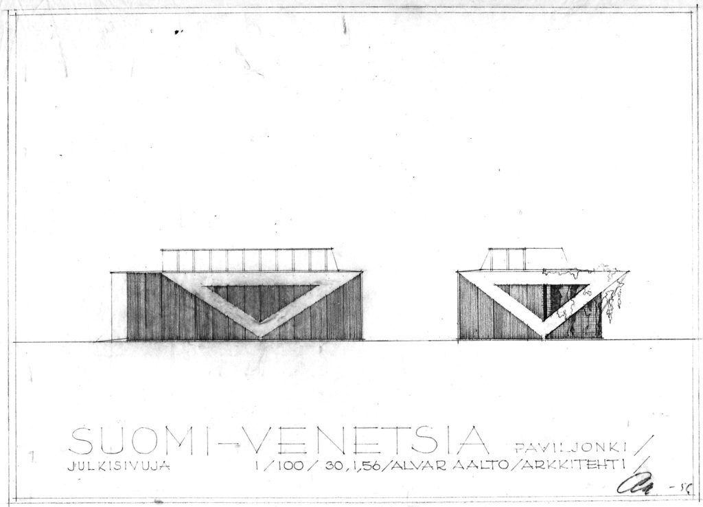 Preliminary design for the elevations of the pavilion. © Alvar Aalto Foundation