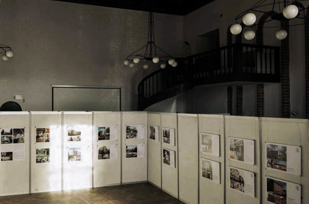 """View of the """"Architecture of Erik Bryggman"""" exhibition in Gdansk, Poland. Mikko Laaksonen from the Bryggman Institute explaining Bryggman's architectural ideas. Photo: Pawel Wlad Kowalski."""