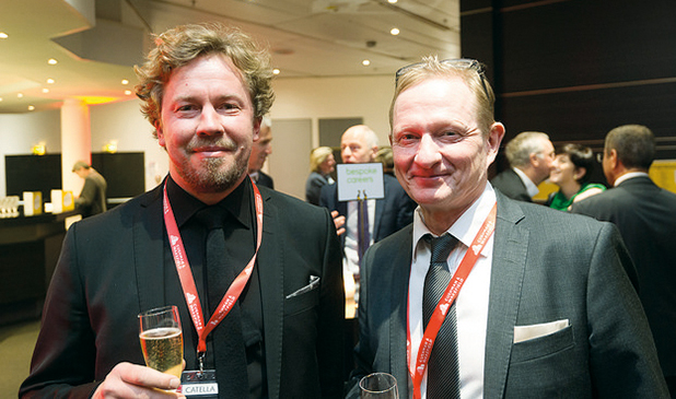 Tuomas Silvennoinen and Jarkko Salminen of PES-Architects at the award ceremony in Cannes.
