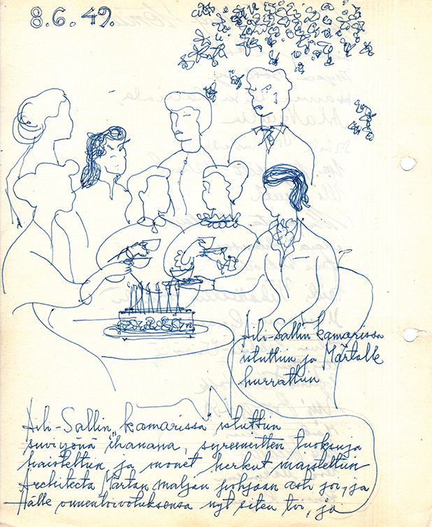 Märta Blomstedt's 50 year birthday party in 1949. illustration: Architecta's archives, The National Archives of Finland