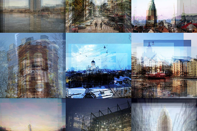 A collage of photos of buildings. The photos are unsharp.
