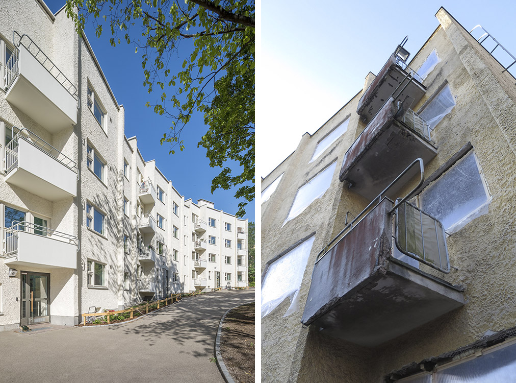 Two pictures of the renovated balconies before and after.
