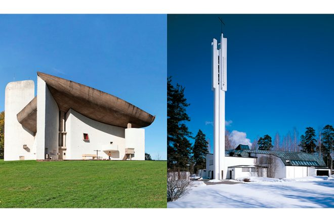 Le Corbusier's Notre Dame du Haut and Aalto's Church of the Three Crosses presented side by side.