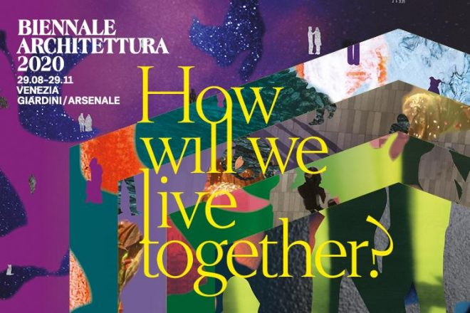 "Yellow text ""How will wi live together?"" on a colourful and collage-like background."