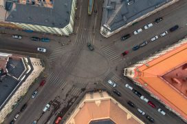 Crossroads in Helsinki called Viiskulma, captured from ubove.