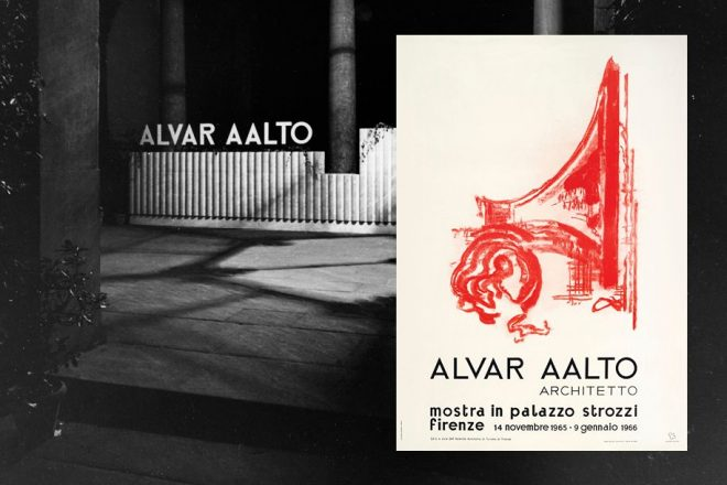 Alvar Aalto's exhibition poster from Palazzo Strozzi on a black and white background. The poster is light and creamy and features a bright red sketch of a building.