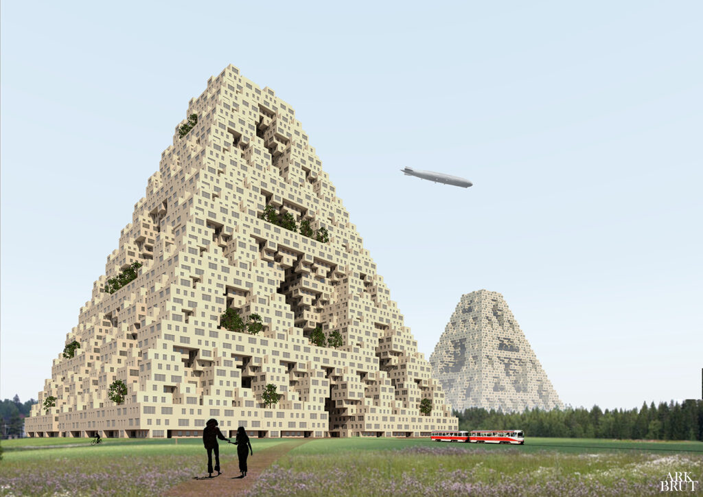 Two pyramid-shaped structures consisting of boxes.