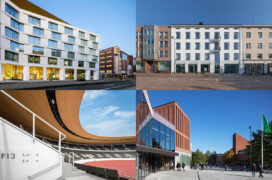 A collage of four photos of buildings