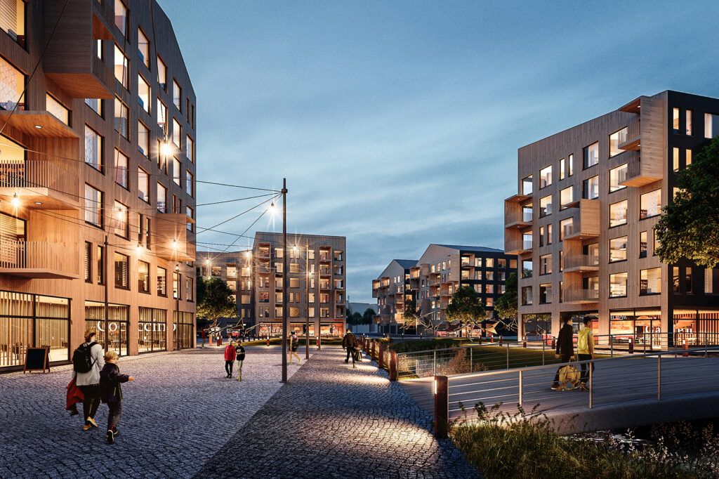 Wooden apartment buildings, people walking, evening lighting. Observation image.