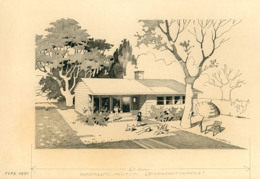Perspective drawing of Puutalo Oy's wooden house. The father of the family is on the porch watching a child and a dog playing in the lush green yard.