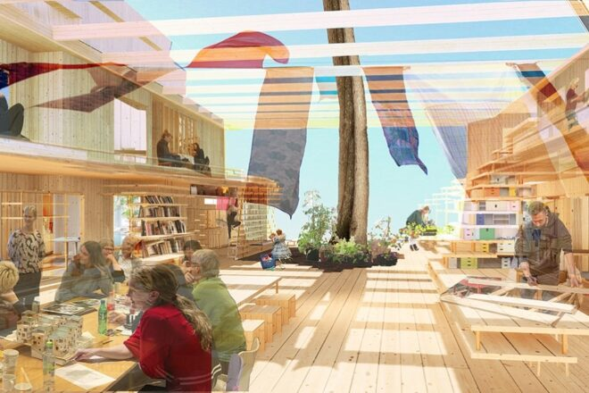 Illustration of a living space made of wood. People are smiling and talking to each other.