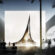 Illustration of the white pavilion of Finland in Expo 2020 Dubai.