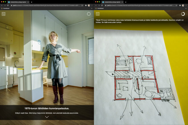 Two screenshots of a visual article, on the left a blond woman in an apartment, on right a sketch of a floor plan
