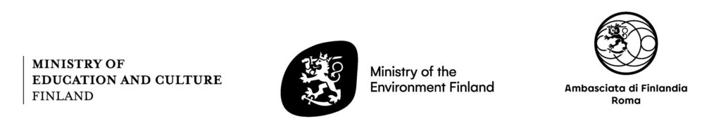 Logos: Ministry of Education and Culture Finland, Ministry of the Environment, Ambasciata di Finlandia Roma