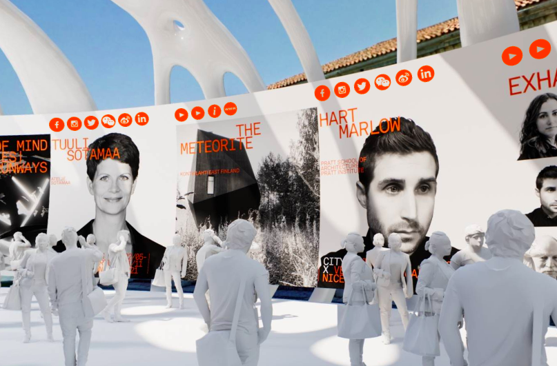 Virtual exhibition space with video clippings on the walls and artificial human figures walking around.