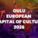 Performer on stage, colours from violet to orange. On top of the photo a white text: Oulu European Capital of Culture 2026