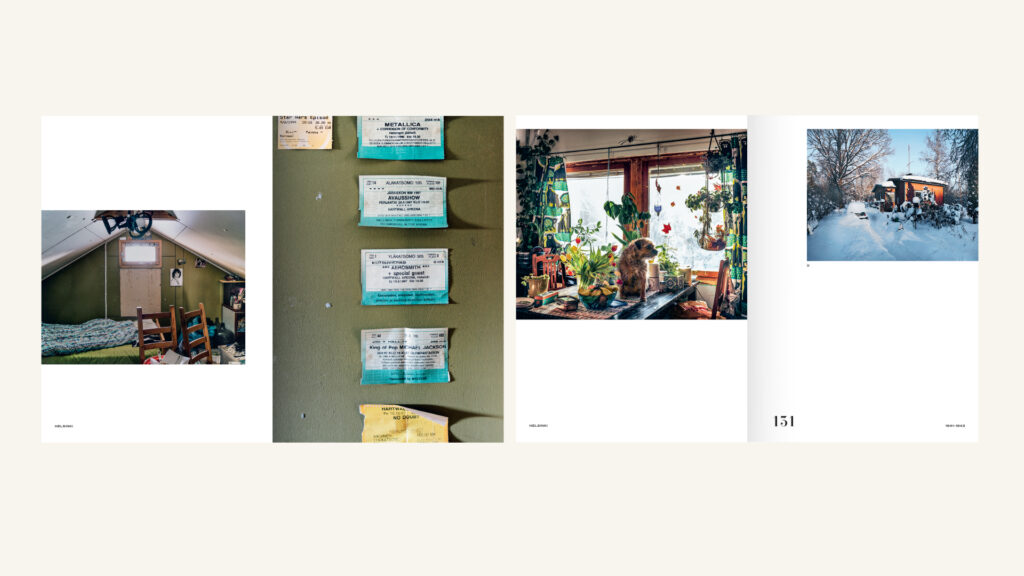 Two spreads of a book with different-sized colour photos