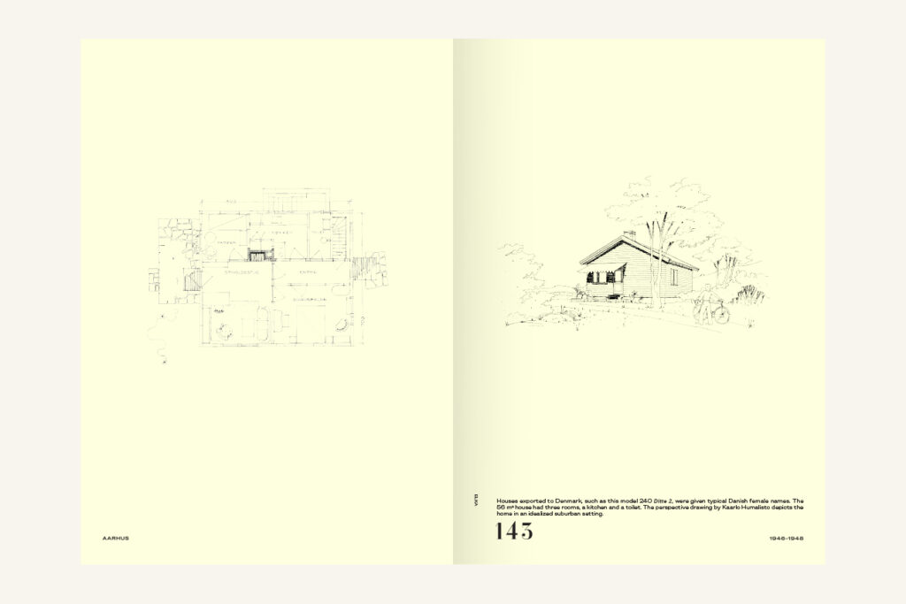 An open spread of a book with yellow paper and line drawings: a floorplan and a perspective drawing of a small house.