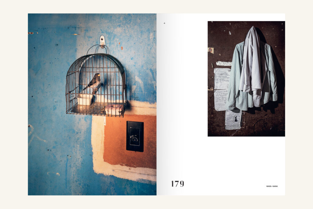 An open spread of a book. On left a full-page photo of a caged bird hanging against a blue wall with some white and orange areas. On right a smaller photo of some light-coloured shirts hanging on a dark brown wall.