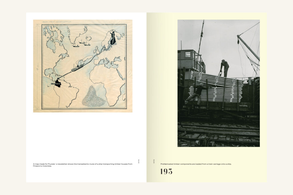 An open spread of a book. On left, an old map with Finland and Colombia in black. On right, a black-and-white photo of wooden elements being loaded on a train wagon.