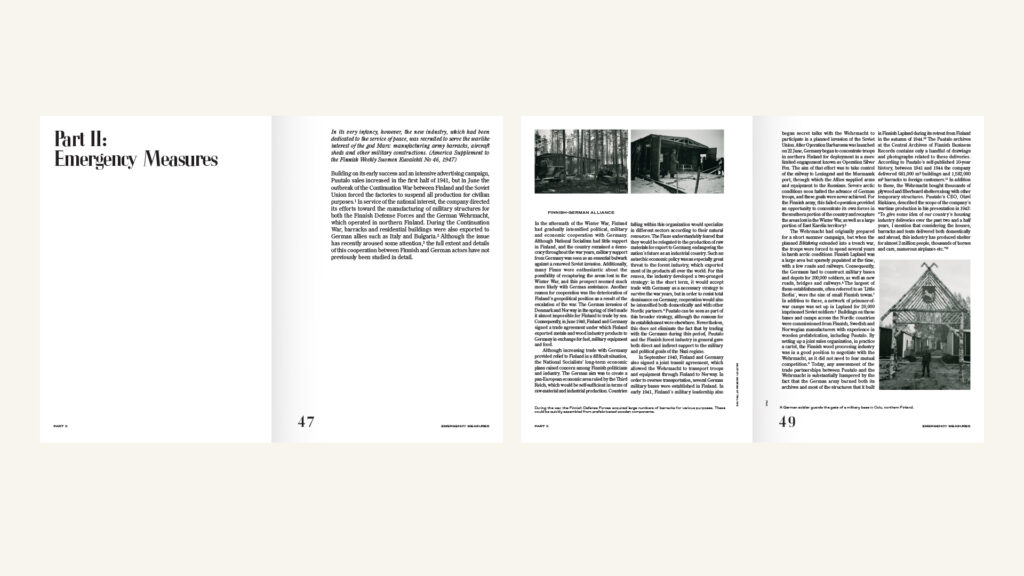 """Two spreads of a book with a lot of text, three small black-and-white photos and headline """"Part II: Emergency Measures"""""""