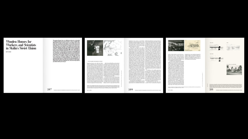 """Three flat-open spreads of a book on black background, a lot of text, few images and headline """"Wooden Houses for Workers and Scientists in Stalin's Soviet Union"""""""