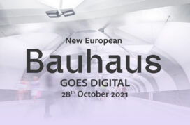An abstract image with the text New European Bauhaus goes digital 28th October 2021 on top of it