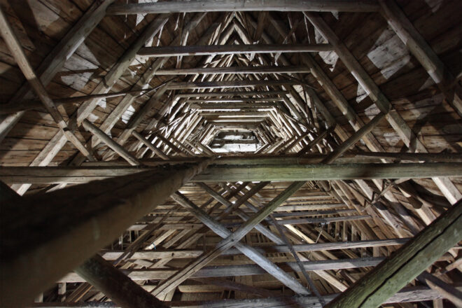 wooden roof trusses of an old church