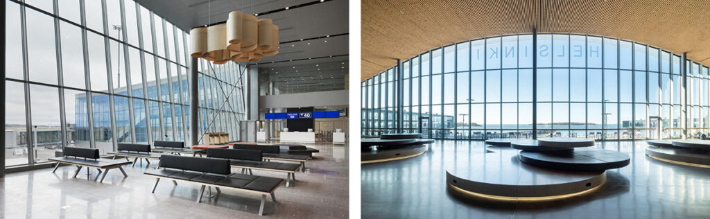 Two photos of two different lounges, both large spaces with a glazed wall and seats. On the right the ceiling is arched and clad with wood