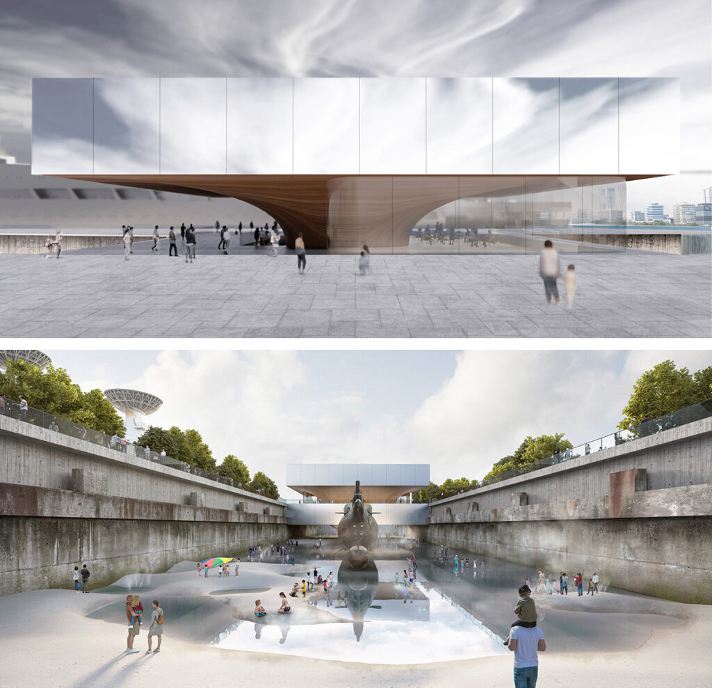 Two renderings: on top, a box-like volume with mirror surface standing on a wooden structure resembling a ship's haul; below a concrete basin in a park with some water and a submarine and people