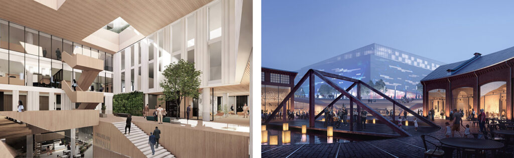 Two illustrations: on left an atrium-like space with wooden surfaces and stairs; on right a night view of an area with old brick buildings, a bridge-like structure and a big building volume in the background