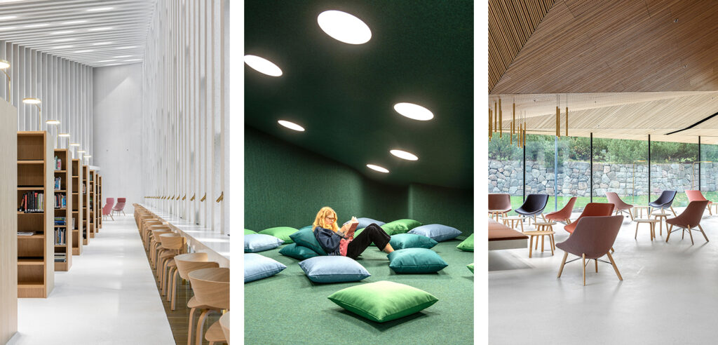 Three vertical photos: A tall white space with wooden bookshelves and chairs. A low space clad with green fabric, pillows on the floor and a woman reading. A low space with a wooden ceiling and armchairs, full-hight glazed wall with a view towards a stone fence.
