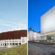 A collage of two photos. On the left a part of the facade of a stadium and a slim white tower. On the right a white, almost glowing modern rectangular building.